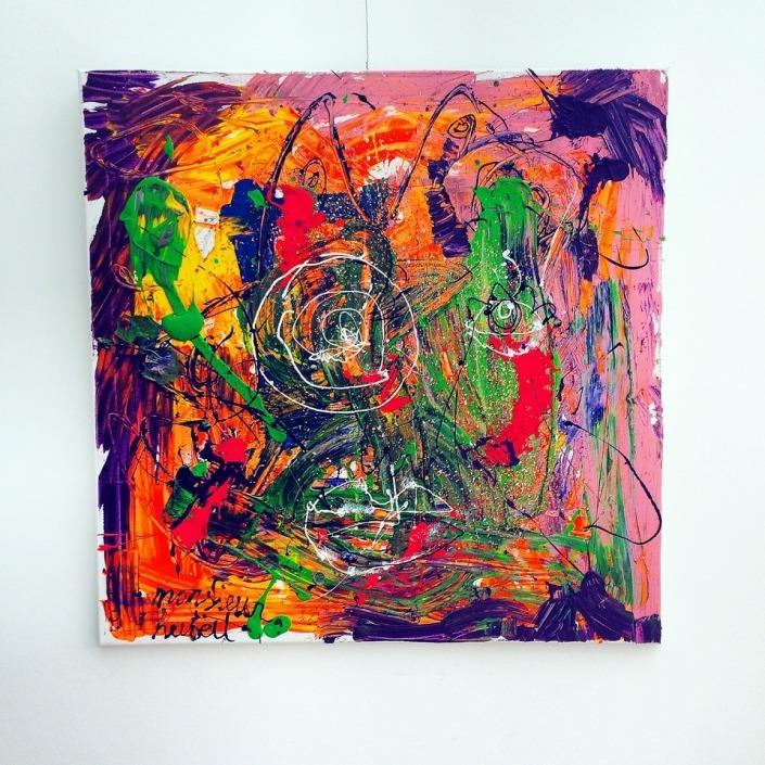 Purple Paulie 100 x 100 cm Acryl.geschaald